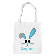 Blue Bunny Face White Tote Bag