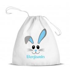 Blue Bunny Face White Drawstring Bag