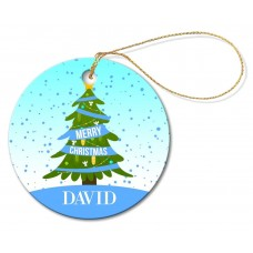 Blue Christmas Round Porcelain Ornament