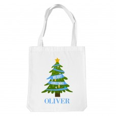 Blue Christmas White Tote Bag