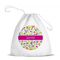 Bubbles White Drawstring Bag