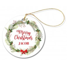 Christmas Wreath Round Porcelain Ornament