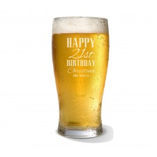Classic Happy Birthday Engraved Standard Beer Glass