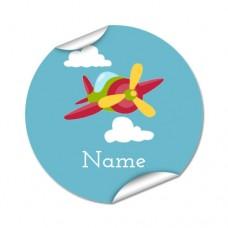 Aeroplane Round Name Label