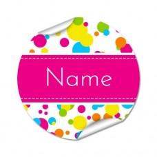 Bubbles Round Name Label