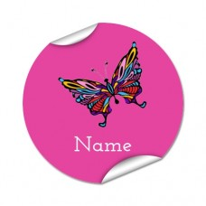 Butterfly Round Name Label