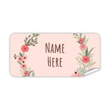 Flower Wreath Rectangle Name Label