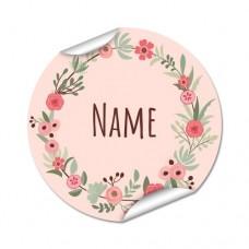 Flower Wreath Round Name Label