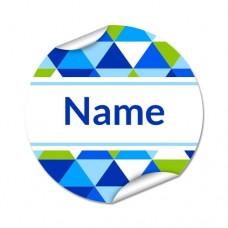 Geometric Round Name Label