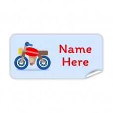 Motorbike Rectangle Name Label