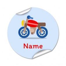 Motorbike Round Name Label