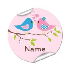Two Birds Round Name Label
