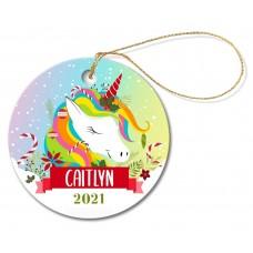 Colourful Unicorn Round Porcelain Ornament