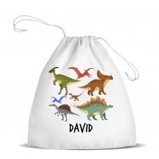 Dinosaur Design White Drawstring Bag