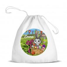 Easter Bunny White Drawstring Bag