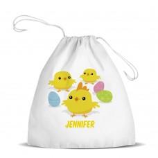 Easter Chicks White Drawstring Bag