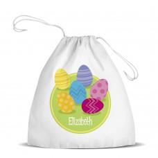 Easter Eggs White Drawstring Bag