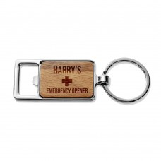 Emergency Rectangle Metal Keyring