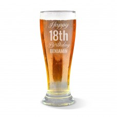 Fancy Happy Birthday Engraved Premium Beer Glass