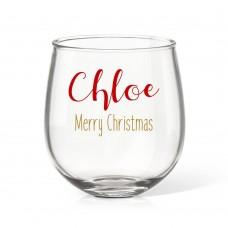 Festive Christmas Stemless Wine Glass
