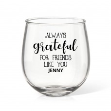 Grateful Stemless Wine Glass
