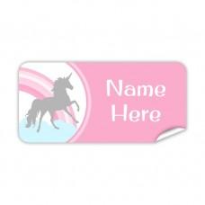 Pink Unicorn Rectangle Name Label