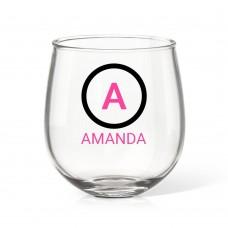 Initial Stemless Wine Glass