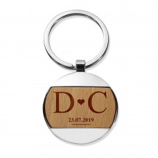 Love Round Metal Keyring