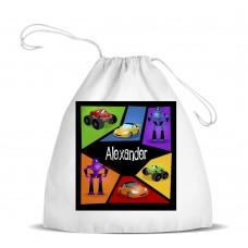 Machine White Drawstring Bag
