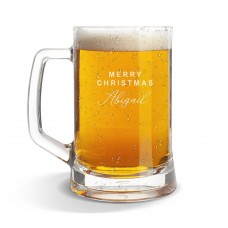 Merry Christmas Glass Beer Mug