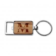 Monogram Rectangle Metal Keyring