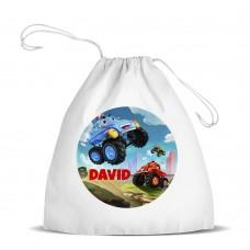 Monster Truck White Drawstring Bag