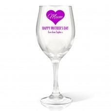 Mum in Heart Wine Glass