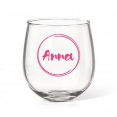 Name in Circle Stemless Wine Glass