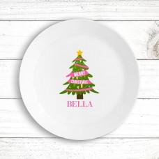 Pink Christmas Kids' Plate
