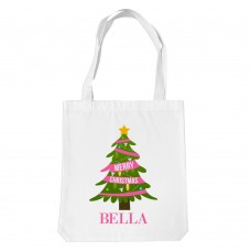 Pink Christmas White Tote Bag