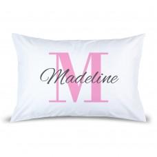 Pink Monogram Pillow Case
