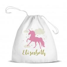 Pink Unicorn White Drawstring Bag