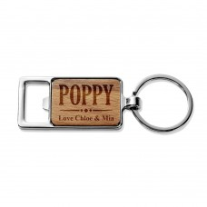 Poppy Rectangle Metal Keyring
