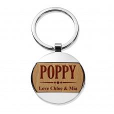 Poppy Round Metal Keyring