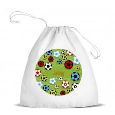 Soccer White Drawstring Bag