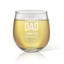 Thanks Dad Engraved Stemless Wine Glass