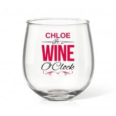 Wine O'Clock Stemless Wine Glass