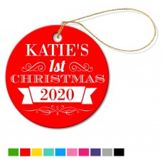 1st Christmas Round Porcelain Ornament