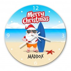 Beach Santa Glass Wall Clock
