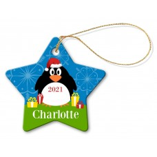 Big Penguin Porcelain Christmas Star Ornament