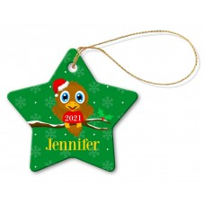 Bird Porcelain Christmas Star Ornament