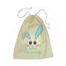Blue Bunny Face Drawstring Bag