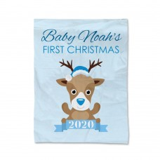 Blue First Christmas Blanket