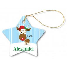 Blue Reindeer Porcelain Christmas Star Ornament